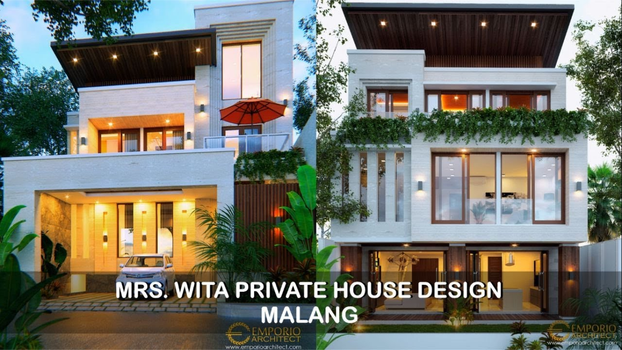 Video 3D Desain Rumah Modern 3 Lantai Ibu Wita di Malang