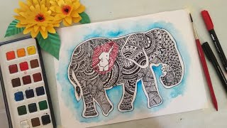 Kerala PREGNANT ELEPHANT DRAWING | | SAVE ANIMAL DRAWING | | DOODLE ART