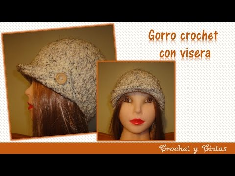 Gorro crochet  (ganchillo) para mujer con visera