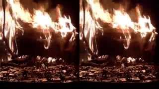3D Video Fire. JVC 3D camera. 3D Test Video