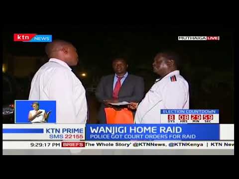 NASA leader Raila Odinga serves police personnel at Jimi Wanjigi's Muthaiga home with a court order