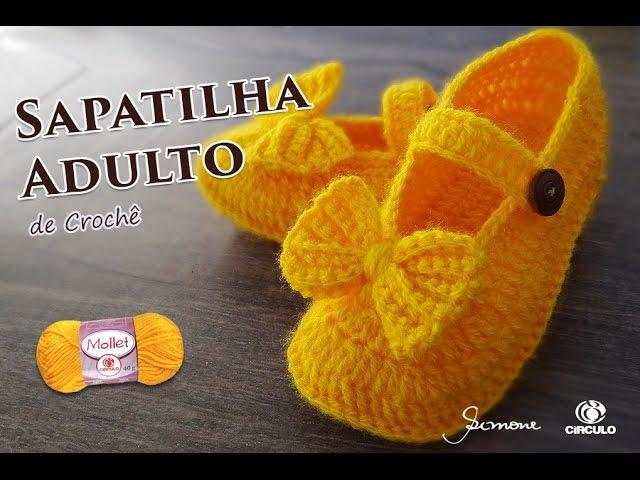 147c862a8d Sapatilha de Crochê Adulto – Mollet – Professora Simone Parte 1 ...