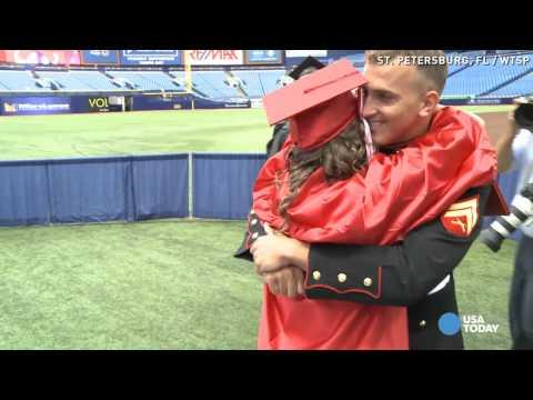 Surprise! Marine visits sister at graduation