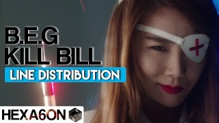 Brown Eyed Girls - Kill Bill Line Distribution (Color Coded)
