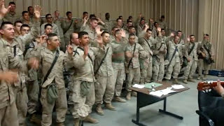 """Marines singing """"Lord i lift your name on high"""""""