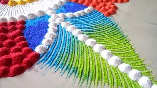 Very simple and Beautiful rangoli design with trick/Comb