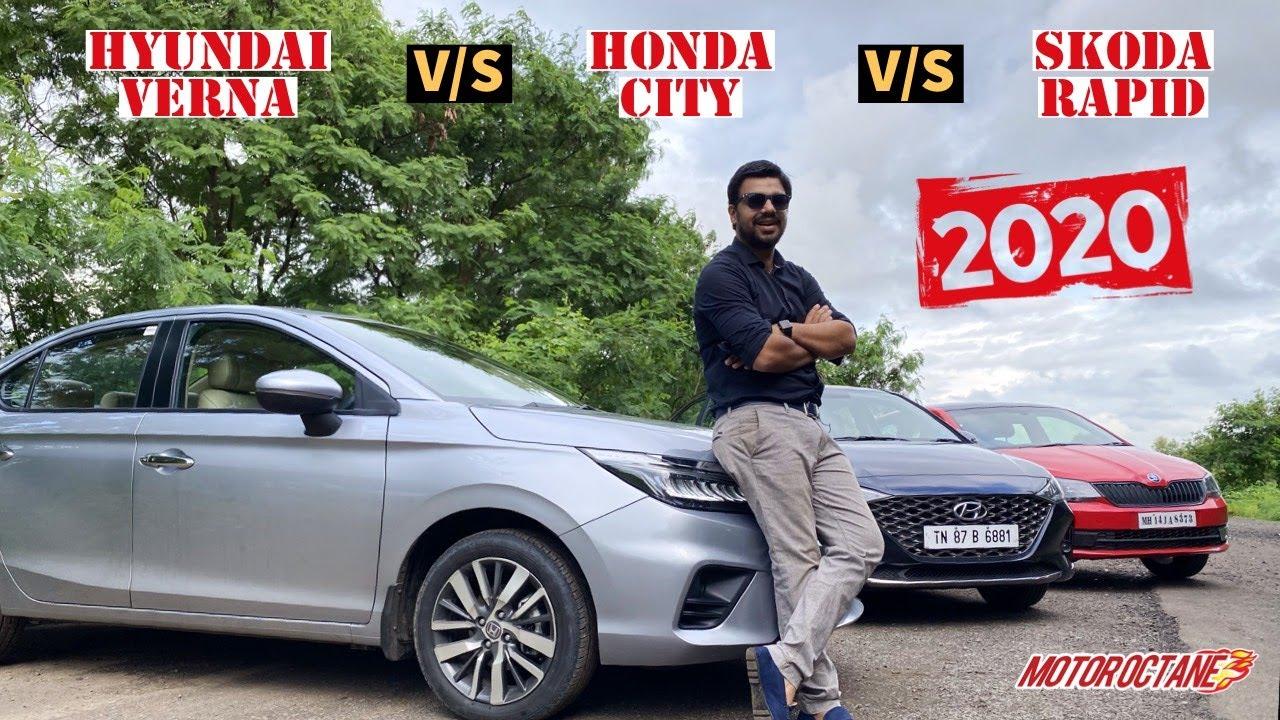 Motoroctane Youtube Video - 2020 Honda City vs Rapid vs Verna - Best SEDAN? Hindi | MotorOctane