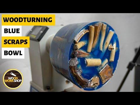 Woodturning Blue Scraps Bowl