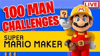Attempting To Beat Easy-Super Expert With Only 100 Lives... | Super Mario Maker LIVE!!