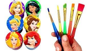 Disney Princess Drawing with Ariel Belle Cinderella Jasmine Rapunzel Aurora Surprise Toys