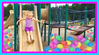 Playing at the park on the Kids Playground & Surprise Egg Toy Hunt W/ Play Doh Girl & Fun Factory