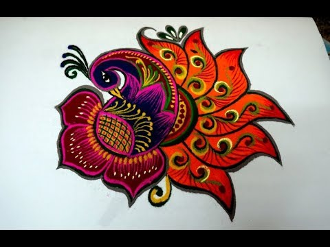 multicolor peacock rangoli design for special occasions