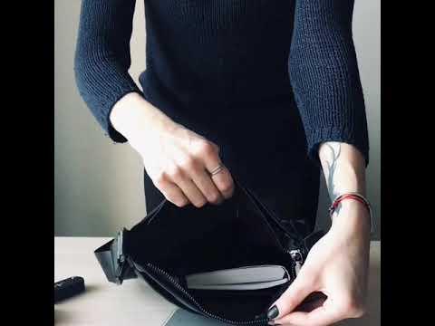 Мужская кожаная сумка через плечо Tiding Bag черного цвета Video #1