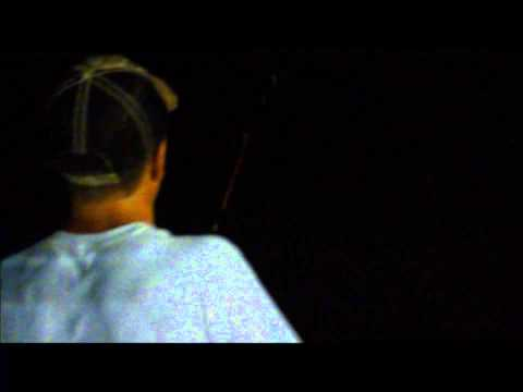 Night bass fishing a wal-mart retention pond in FL