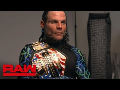 Jeff Hardy is photographed with his new United States Title: Raw Exclusive, April 16, 2018