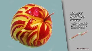2 Beautiful Apple Carving Garnishes & Lifehacks For Party Food Decorations & Designs