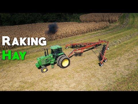 Raking Hay - RhinoAg RDF14 Wheel Rake - How Farms Work - Video