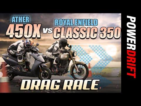 Royal Enfield Classic 350 vs Ather 450X | Drag Race | PowerDrift
