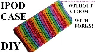 How To Make IPOD CASE With 2 Forks,  Rainbow Loom Bands Easy, Tutorial Diy Iphone Case Rubber Bands