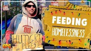 Feeding a Starving Homeless Man at Christmas. A Random Act of Kindness