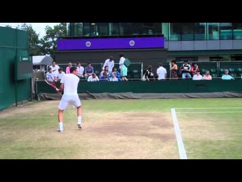 Robin Soderling Practicing (Great Angle) - Wimbledon 2010