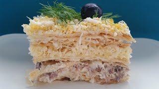 Слоеный пирог с рыбной консервой. Простой рецепт слоеного пирога