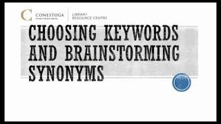 [Archived] Preparing - Choosing Keywords and Brainstorming Synonyms