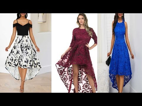 lATEST STYLISH AND FASHIONABLE  WOMENS HIGH LOW NET DRESS DESIGN -2019