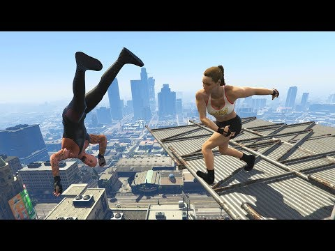 GTA 5 WWE 2K19 Jumps/Falls Ragdolls Compilation (Euphoria Physics - Funny OMG Moments)