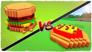 👉 Casa de HAMBURGUESA vs casa de PIZZA - MINECRAFT