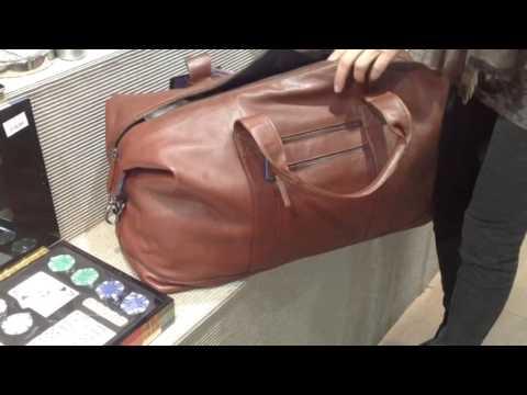 Bolsa de viaje bandolera en piel marrón - Solohombre