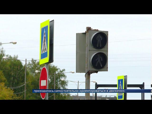 Дождь вывел из строя светофор на перекрестке Ленинградского-Космонавтов