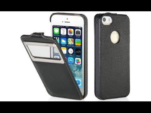 Handyhülle für Apple iPhone 5 & 5s mit Sichtfenster aus echtem Leder von StilGut