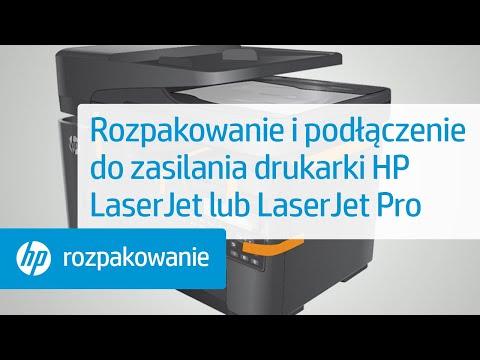 Rozpakowywanie i podłączanie twojej drukarki HP LaserJet do źródła zasilania