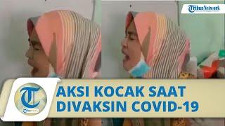 Viral Video Kocak Emak-emak saat Divaksin Covid-19, Menyanyi dengan Keras untuk Hilangkan Rasa Sakit