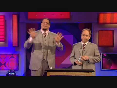 Penn and Teller preform the infamous cups and balls with clear cups