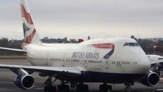 British Airways Flight BA 268 (LAX-LHR) Gate, Pushback, Taxi, and Takeoff (G-CIVT)