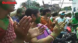 TMC Workers Celebrate Outside Mamata Banerjee's Residence In West Bengal