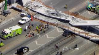 Puente peatonal en Miami, Florida, colapsa