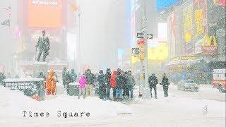 Winter wonderland in Times Square, NYC.  Snow tour. 4K G85 12-60mm kit.