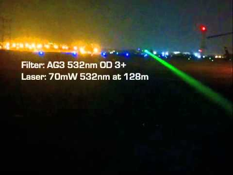 LAPD Flight Deck Test: NoIR GlareShields vs 70mW Green Laser