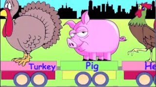 Learn Farm Animal Train - learning animals video for kids