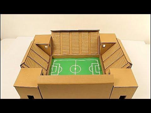 Cómo hacer un estadio de fútbol de cartón (cardboard soccer stadium) paso a paso