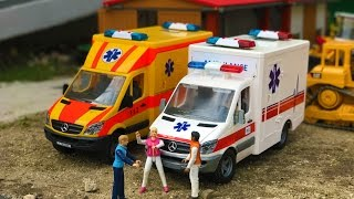 BRUDER toys construction site accident AMBULANCE!