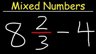 Subtracting Mixed Numbers and Whole Numbers