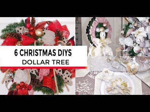 🎄6 DIY DOLLAR TREE CHRISTMAS DECOR CRAFTS🎄WREATH, GIFT, ORNAMENT