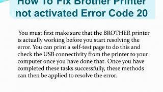Steps For Brother Printer not activated error code 20