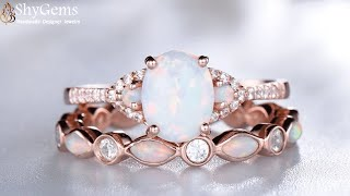 ShyGems Vintage Opal And Diamond Bridal Ring Set In Gold