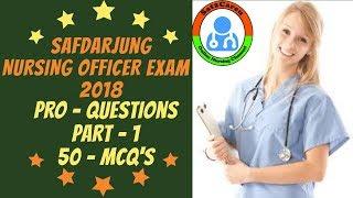 Safdarjung Nursing Officer Exam   2018 Pro Question Challenge