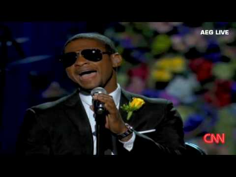Usher chokes up during performance at Michael Jackson memorial